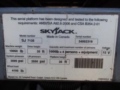 2012 Skyjack SJ-7135RT