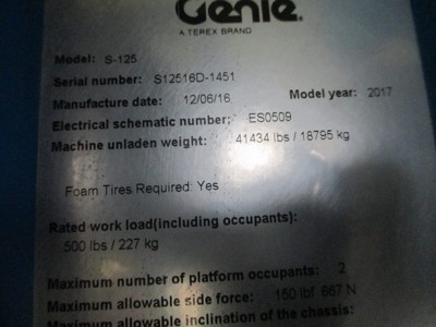 2017 Genie S-125