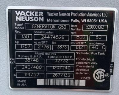 2018 Wacker G50