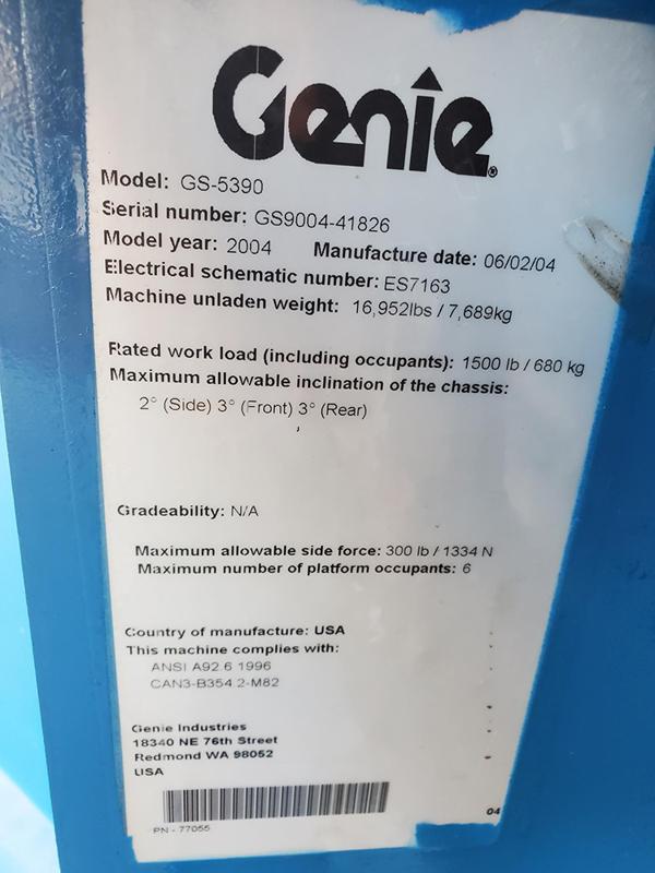 2004 Genie GS-5390 RT