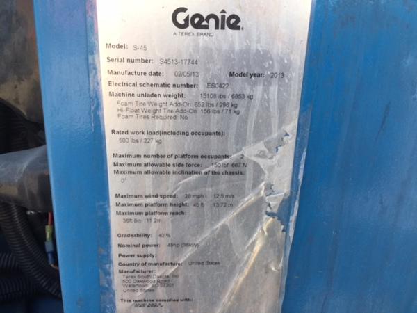2013 Genie S-45