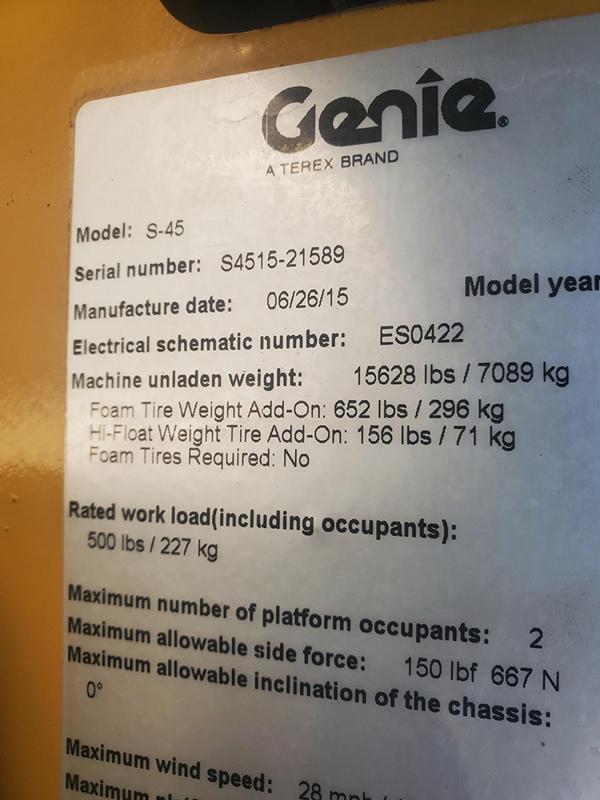 2015 Genie S-45